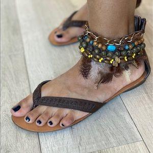 ZiGiSoho Boho Sandals w/ Feather and Beaded Ankle
